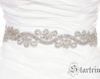 SALE NAN ,  Wedding bridal crystal beaded sash belt