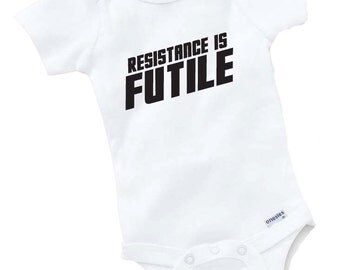 Resistance Is Futile Onesie Bodysuit Baby Shower Gift Funny Geek Nerd Cute Sci Fi