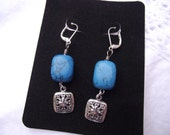 Faux Turquoise and Silver tone dangle pierced earrings