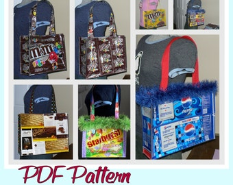 Large Candy Wrapper Purse sewing pattern (PDF- instant download) DIY purse made using recycled wrappers, novelty purse