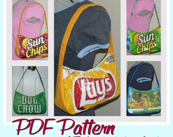 Chip Zip Purse sewing pattern (PDF -instant download) DIY purse using recycled wrappers, novelty purse