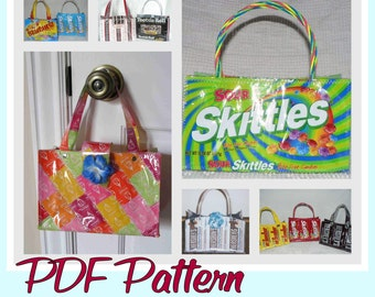 Small Candy Wrapper Purse sewing pattern (PDF - instant download) DIY purse made using recycled wrappers, novelty purse