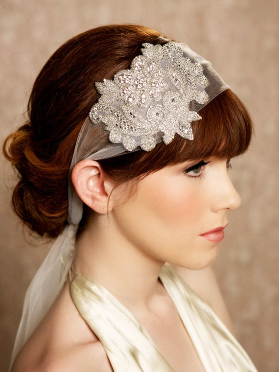 Great Gatsby Crystal Headband, Tulle Headband, Veil Head Wrap, Art Deco, Vintage Inspired Tulle Veil, Roaring 20s Wedding Style - ELOISE