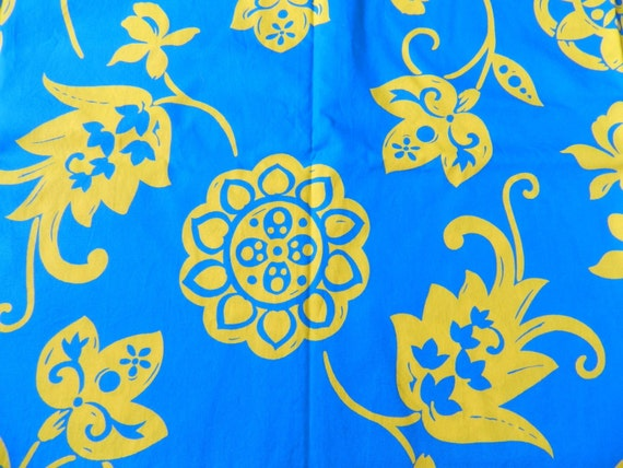 I'll have a Blue Hawaiian Please Bright and Cheery Neon Tropical Cotton Fabric in Turquoise and Yellow