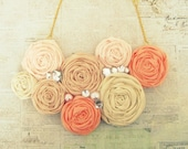 Coral Ombré Statement Necklace, Rosette Statement Necklace, Bib Necklace, Coral & Gold Flower Necklace, Bridal Jewelry, Summer Trends