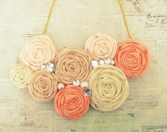 Boho Floral Statement Necklace,Boho Necklace,Boho Coral Flower Necklace,Coral Ombré Necklace,Flower,Bib Necklace,Floral Boho Jewelry, SUMMER