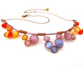 Wire Wrapped Necklace with orange, Peach, Cornflower blues and purple Cat's Eye Beads, Copper Wire and Adjustable Matching Chain