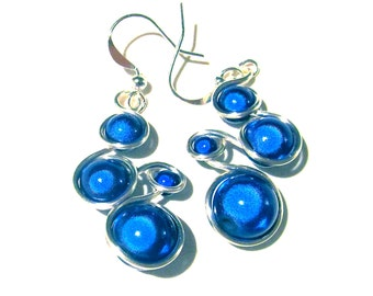 Silver and Blue Wire Wrapped Earrings with Cobalt Blue Miracle Beads, silver wire and french ear wires