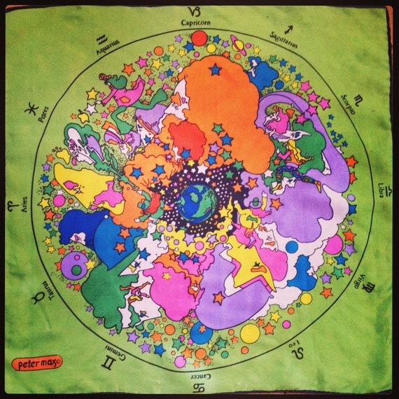 SALE PETER MAX Zodiac Scarf / 1960s 60s Astrology Psychedelic  Peter Max 60s