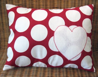 "Appliqued Heart Pillow with Red & White Polka Dot Print and White Wool Felt Heart, 12"" x 16"""