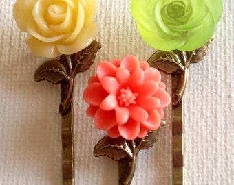 Buy Cute Bobby Pins, Accessories, Hair, Bobby Pins, Flower Hair Pins, Cabochon Hair Pins, Wedding Hair