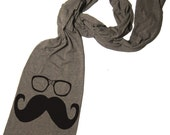 Scarf MUSTACHE and Wayfarer Unisex Tri-Blend American Apparel Scarf (4 Color Options)