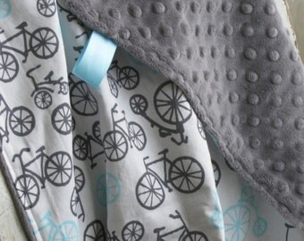 Baby Blanket - Bicycle Haze - Baby Boy - Grey & Aqua - YOU CHOOSE either Minky or Chenille back