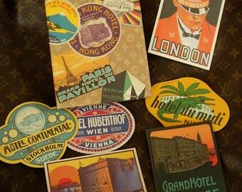 Rare Discontinued LOUIS VUITTON Boxed Travel Sticker Hotel Grand Tour 27 NOTECARD Set