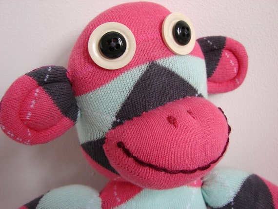 Barbara the SOCK MONKEY Handmade Soft Cool Cuddly Adorable Pink Lime Purple Argyle Golf Socks
