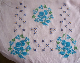 Embroidered Table Runner Vintage Dresser Scarf Blue Cross Stitch 1950s Shabby Chic