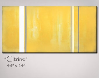 Yellow Abstract Art - Yellow Abstract Painting - 48x24