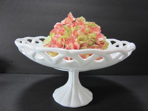 Large milk glass pedestal bowl centerpiece by
