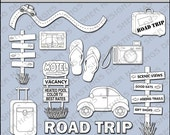 Road Trip Digital Stamp - Vacation Black and White Clipart - Travel Digital Scrapbooking, Summer Clipart