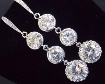Wedding Jewelry, Bridal Earrings, Clear Earrings, Glass, Cubic Zirconia, Silver, Bridesmaid Earrings, Bride Earrings, Bridesmaid Gifts