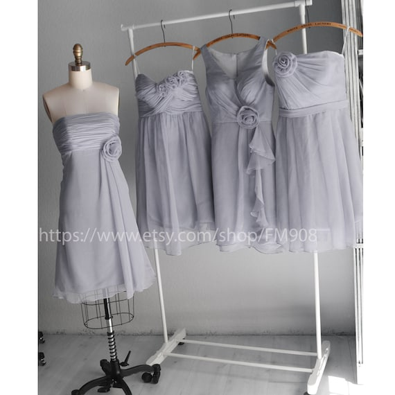 mix match style bridesmaid dresses / Romantic /pale pink / dresses /Fairy / Dreamy / Bridesmaid / Party / wedding / Bride (E002 Gray)
