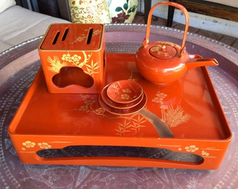 STUNNING Red and Gold Makie lacquer Tea or Sake set SALE from 195.00