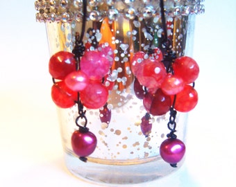 Pink Agate Earrings mouth watering water melon pink faceted agate on black wire hand wrapped with real pink pearls free shipping ooak