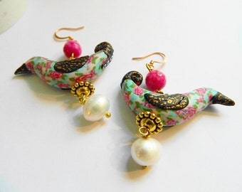 ORDER ONLY ooak  Bird earrings pink blue roses shabby chic and white fresh water pearl copper
