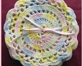 9 Crocheted Pastel Coasters or Trivets