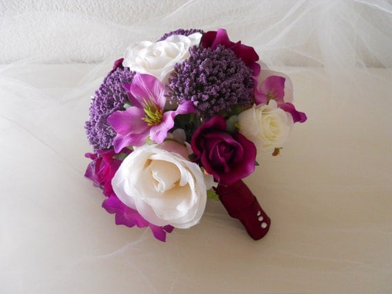 Sangria, Purple and Ivory Bridal Bouquet