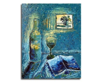"Original oil painting of wine, book, painting on wall - blue, yellor, green, royal blue - 19,7"" x 15,7"""