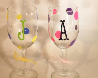 Set of 8 DIY Personalized Initial Wine Glass Labels