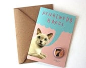 Welsh Penblwydd Hapus Cat Birthday Eco Friendly Art Greeting Card with Number Badge