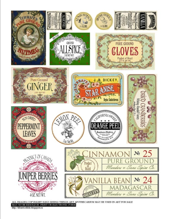 Vintage style spice labels by seeingthingsart on etsy