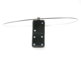 Black and white Domino fused glass pendant necklace, contemporary jewelry