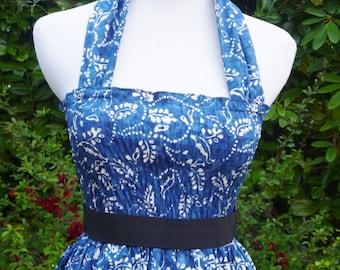 Vintage inspired  Retro Rockabilly swing summer dress bridesmaid dress, halter neck,