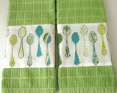 SALE 50% OFF--A set of 2 Gourmet Kitchen Towels, adorned with Spoons.