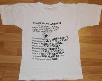 Vintage 80's Black Man's Anthem BFFC T-Shirt Malcolm X Martin Luther King Bob Marley Farrakhan