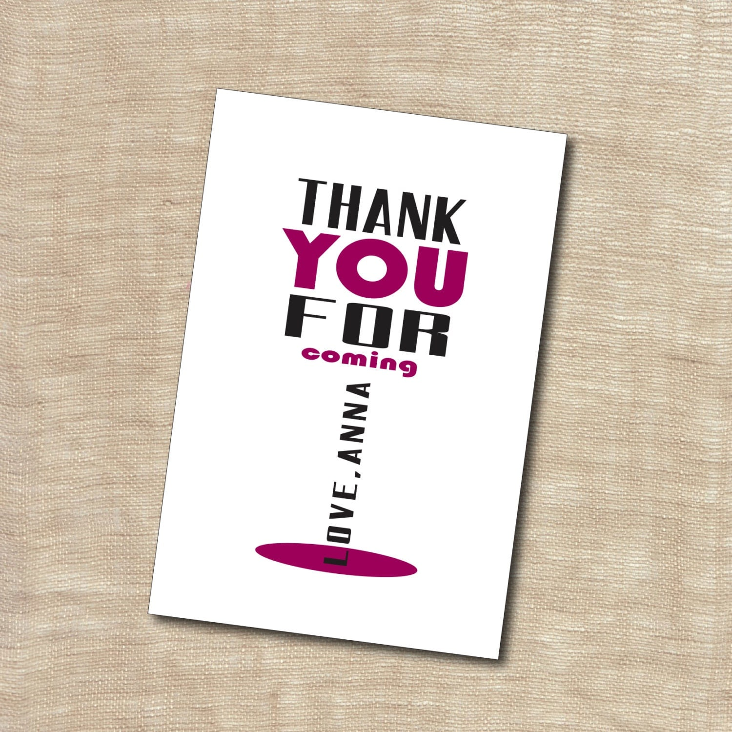 Personalized Printable Custom Coordinating Thank You Card Wine