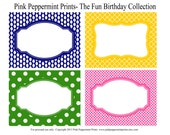 NEW INSTANT DOWNLOAD The Fun and Funky Birthday Party Collection Printable Party Labels