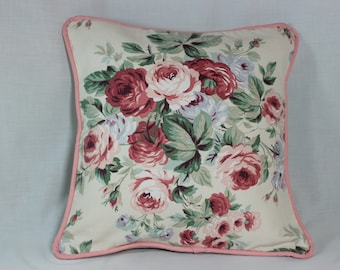 Cabbage Rose Shabby Chic Throw Pillow Cover