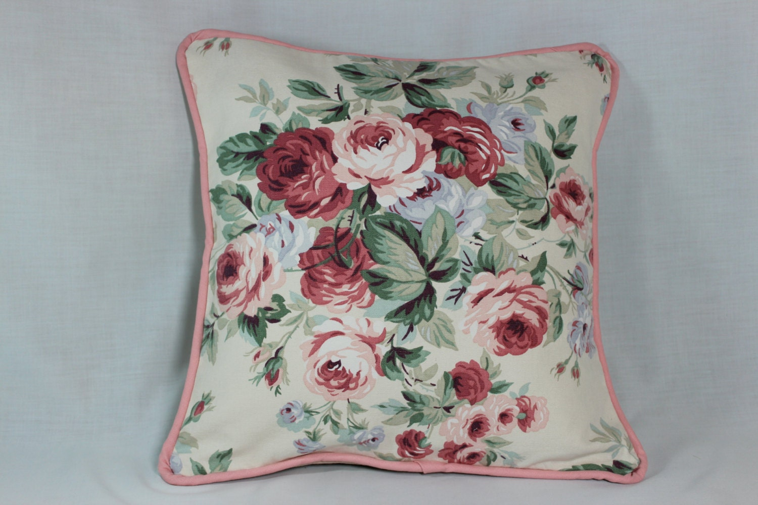 Shabby Chic Decorative Pillows : Cabbage Rose Shabby Chic Throw Pillow Cover by ozmamade on Etsy