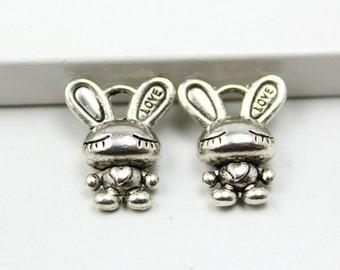 30Pcs Antique silver rabbit Charm rabbit Pendant 16x13mm (PND352)