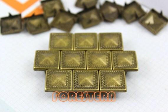 100Pcs 12.5mm Antique Brass Dotted Border PYRAMID STUDS Metal Studs (BDP12)