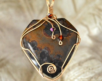 Orbicular jasper pendant.  14k gold filled wire wrapped    brown black red.