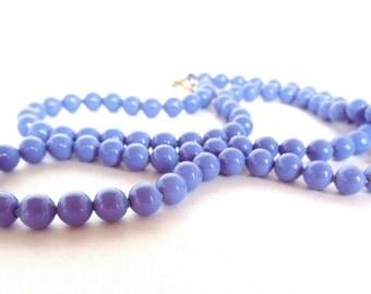 """Vintage Necklace Enameled Metal Lavender Beads Strand  80's 25"""" (item 63)"""