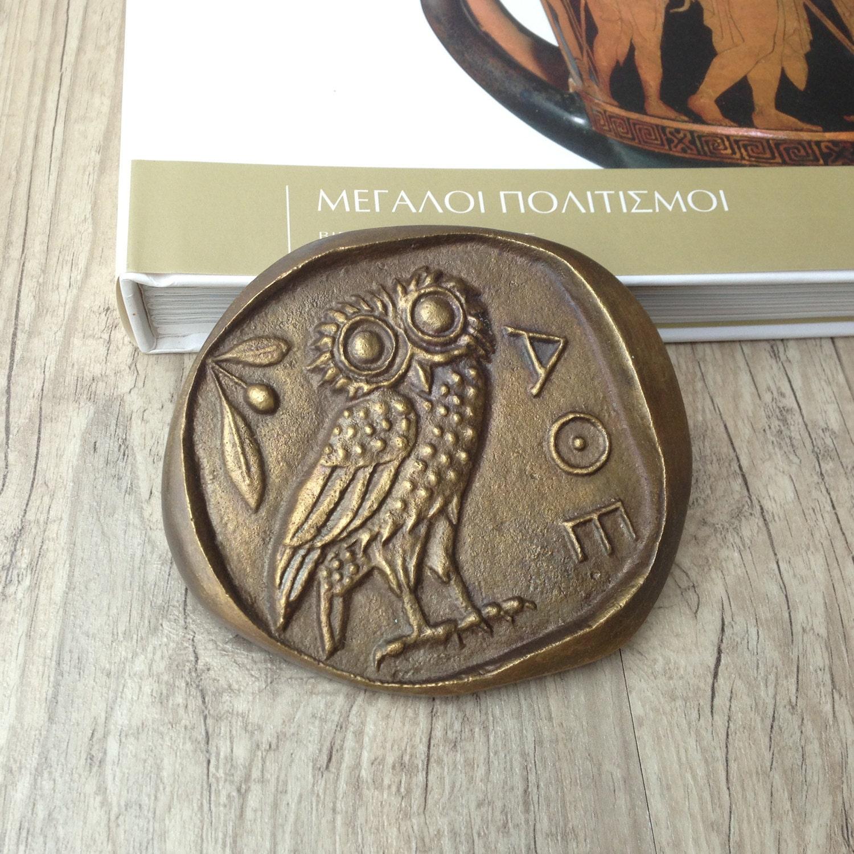 Greek 0wl paperweight goddess athena ancient greek coin biocorpaavc