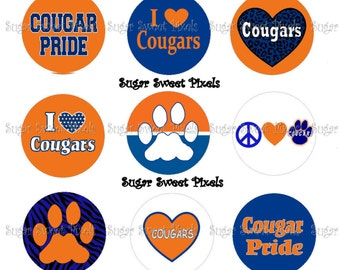 INSTANT DOWNLOAD Cougars 2  School Mascot 1 inch Circle Bottlecap Images 4x6 sheet