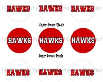 INSTANT DOWNLOAD 2 color Hawks School Mascot 1 inch Circle Bottlecap Images 4x6 sheet