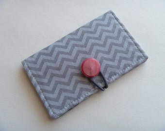 Business card holder/mini wallet/business card wallet/gift card case men women - Grey Chevron